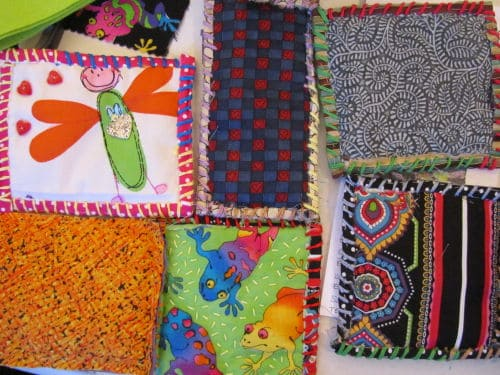 Quilt as you go, hooked and prodded flowers 009