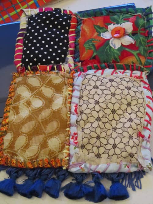 Quilt as you go, hooked and prodded flowers 010
