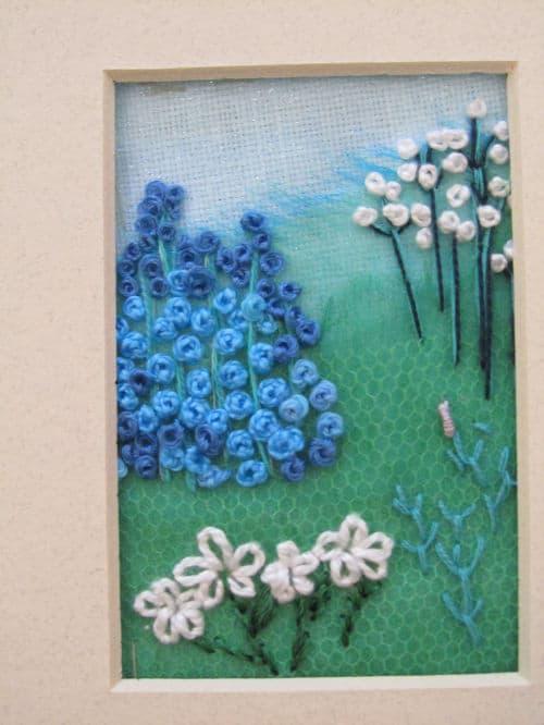 Tom's medal, Hardwick Hall, hand emb., 3D hooked flowers 006