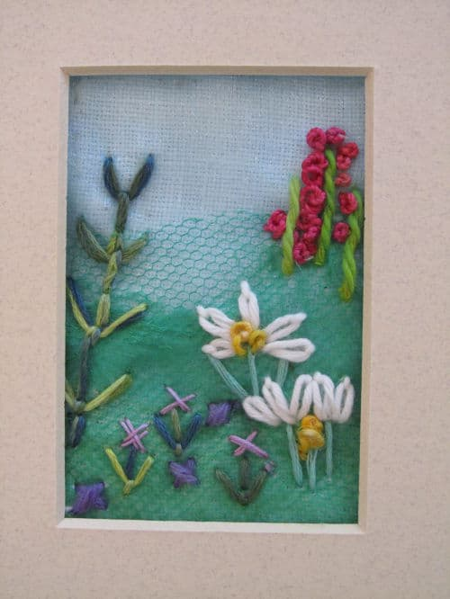 Tom's medal, Hardwick Hall, hand emb., 3D hooked flowers 007