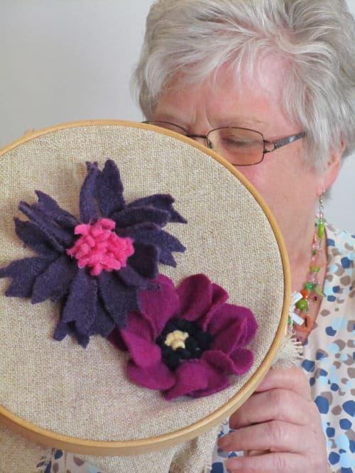Tom's medal, Hardwick Hall, hand emb., 3D hooked flowers 013