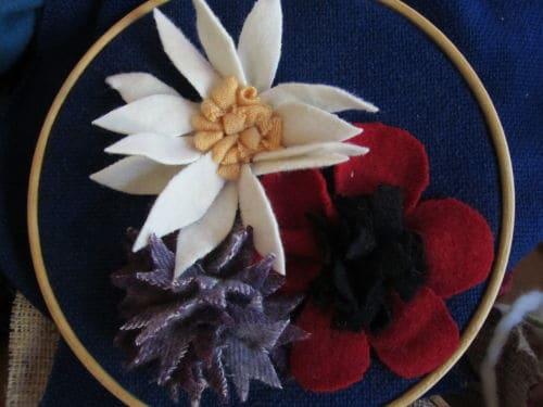 Tom's medal, Hardwick Hall, hand emb., 3D hooked flowers 014