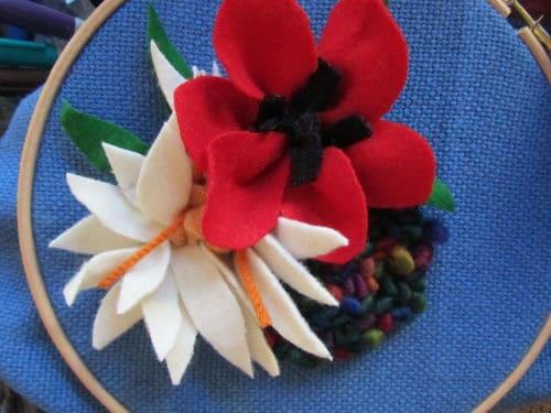 Tom's medal, Hardwick Hall, hand emb., 3D hooked flowers 016