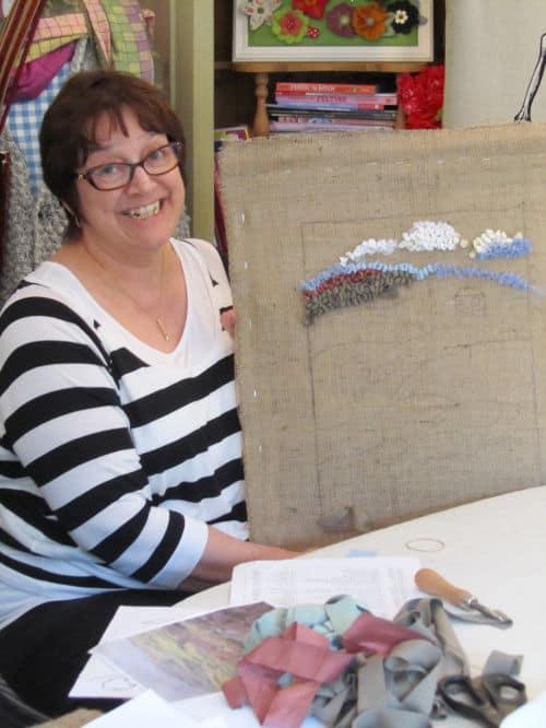 Rag rugging, Angie Lewin inspired emb., QAYG Ossett 003