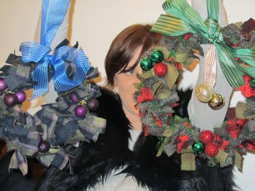 Xmas wreaths,Ruth's stumpwork and Penny rugs,Dorset buttons 008