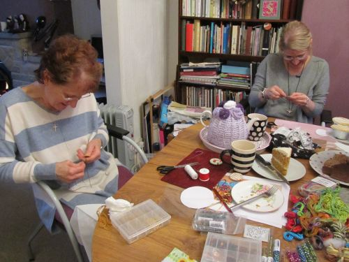 Xmas wreaths,Ruth's stumpwork and Penny rugs,Dorset buttons 014