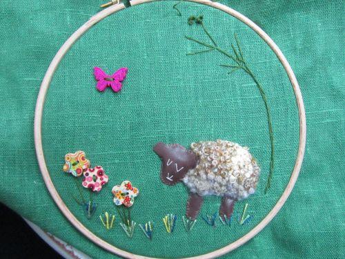 cushions,Orange Box,Mothers Day meal,Stumpwork sheep,Sue's lambs 104