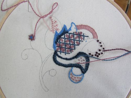 Dragonfly emb,crewelwork,out with Mark 017